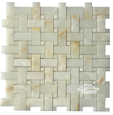 Basketweave Mosaic: White Persian Vanilla PREMIUM 1'' x 2'' Basketweave & 3/8'' dot: Polished