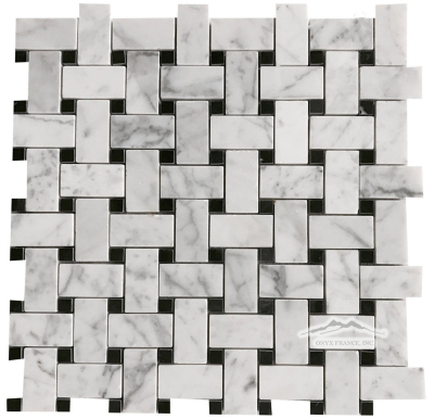 "White Carrara Venatino (Premium) 1"" x 2"" Basketweave with 3/8"" Black Marble Dot"