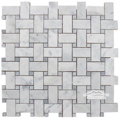 "White Carrara Venatino (Premium) 1"" x 2"" Basketweave with 3/8"" Grey Mist Dot"