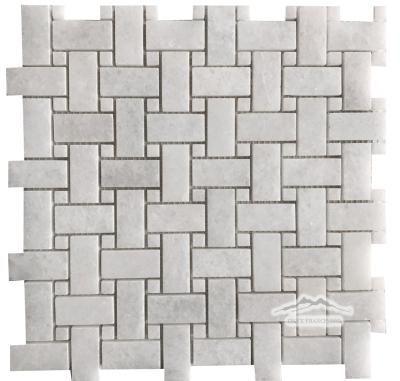 "White Crystalline 1"" x 2"" Basketweave with 3/8'' White Crystalline Dot"