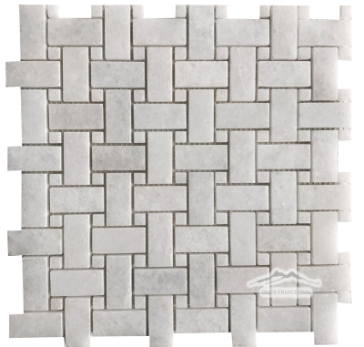 "White Crystalline 1"" x 2"" Basketweave with 3/8'' White Crystalline Dot"