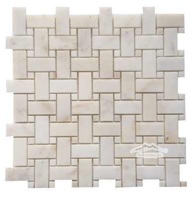 "Basketweave Mosaic: Afyon Sugar 1"" x 2"" with 3/8"" Afyon Sugar Dot Polished"