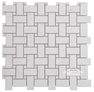 "Basketweave: White Elegant 1"" x 2"" with 3/8"" White Elegant Dot Mosaic Polished"