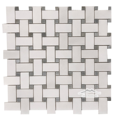White Snow 1'' x 2'' Basketweave with 3/8'' Blue Saveh Marble Dot Polished