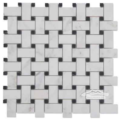 "Basketweave: 1"" x 2"" White Statuary Calacatta with 3/8"" Black Velvet Dot Mosaic Polished"