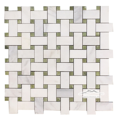 "Basketweave Mosaic: 1"" x 2"" White Statuary Calacatta  w/ 3/8"" Green Olivine Marble Dot Polished"