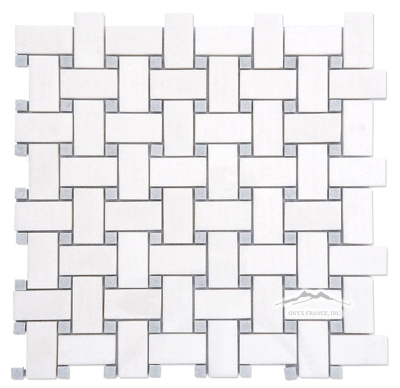 "White Thassos 1"" x 2"" Basketweave with 3/8'' Blue Celeste Dot Polished"