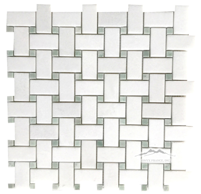 "Basketweave: 1"" x 2"" White Thassos with 3/8"" Ming Green Dot Mosaic Polished"