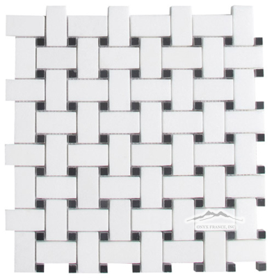 "Basketweave: White Thassos 1"" x 2"" Mosaic w/ 3/8"" Black Dot Polished"