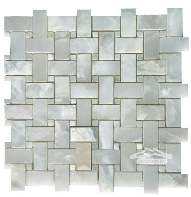 Basketweave Mosaic: White Persian Cloud PREMIUM 1'' x 2'' Basketweave & 3/8'' dot