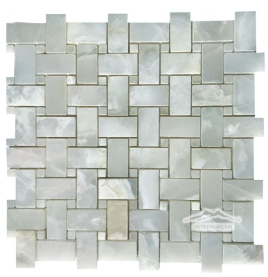 Basketweave Mosaic: White Persian Cloud PREMIUM 1'' x 2''  & 3/8'' dot Polished