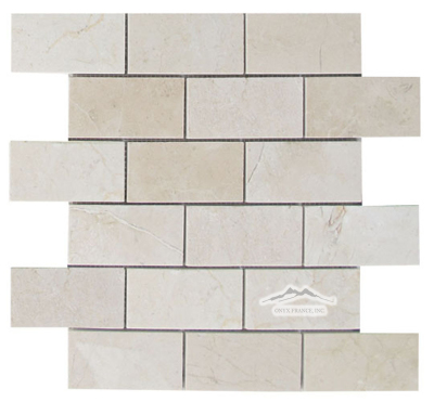 "2"" x 4"" Brick Mosaic: Cream Marfil Marble Polished"