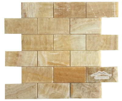 "2"" x 4"" Brick Mosaic: Golden Honey Onyx Polished"