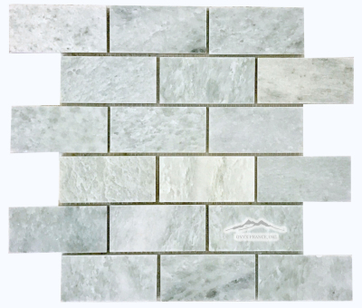 "2"" x 4"" Brick Mosaic: Ming Green Marble Polished (also avail in:Tumbled)"