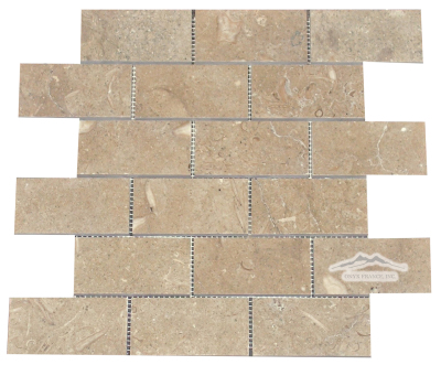 "2"" x 4"" Brick Mosaic: Olive Green (Pistachio/ Sea Grass) Limestone Honed"