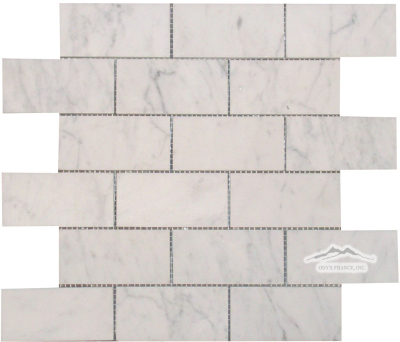 "2"" x 4"" Brick Mosaic: White Carrara Venatino Marble Honed"