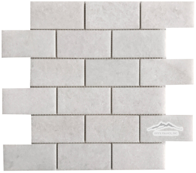 "2"" x 4"" Brick Mosaic: White Crystalline Marble Polished"