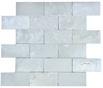 "2"" x 4"" Brick Mosaic: White Persian Cloud Premium Onyx Polished"