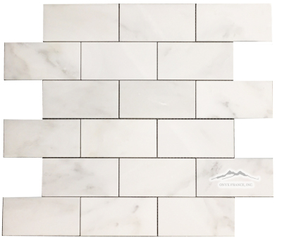 "2"" x 4"" Brick Mosaic: White Statuary Calacatta Marble Polished"