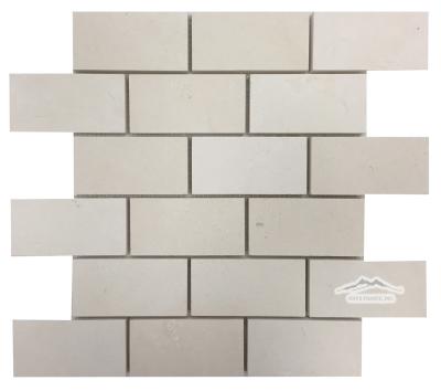 "2"" x 4"" Brick Mosaic: Crema Lyon Limestone Honed (1.03 SF/SHT)"
