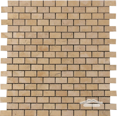 "Mini-Brick 5/8"" x 1-1/4"": Jerusalem Gold Limestone Mosaic Polished"