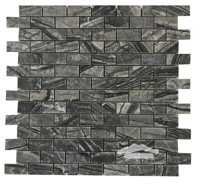 "Large Brick 3/4"" x 1-5/8"" Mosaic: Midnight Glacier Marble Honed"