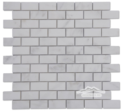 "Large Brick 3/4"" x 1-5/8"" Mosaic: White Statuary Calacatta Marble Honed & Polished"