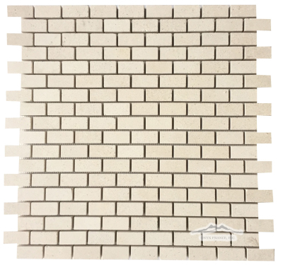 "Mini-Brick 5/8"" x 1-1/4"": Crema Lyon Limestone Honed"