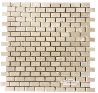 "Pearl Travertine Mini Brick: 5/8"" x 1-1/4"" Mosaic Tumbled"