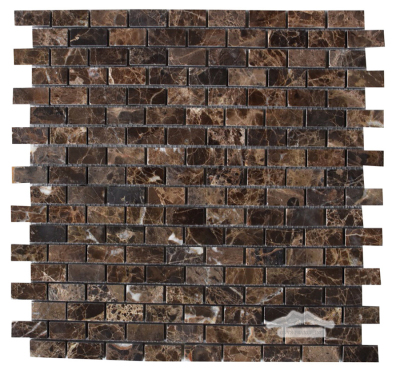 "Mini-Brick 5/8"" x 1-1/4"": Brown Emperador Marble Polished"