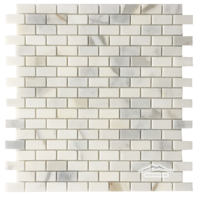 Calacatta Gold Marble Mini Brick 5/8'' x 1-1/4''Mosaic Polished