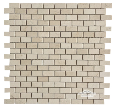 "Mini-Brick 5/8"" x 1-1/4"": Cream Marfil Marble Polished"
