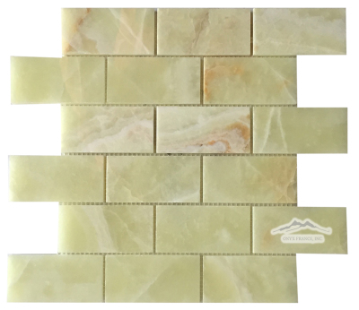 "2"" x 4"" Brick Mosaic: Green Persian Pistachio Onyx (also avail:Polished)"