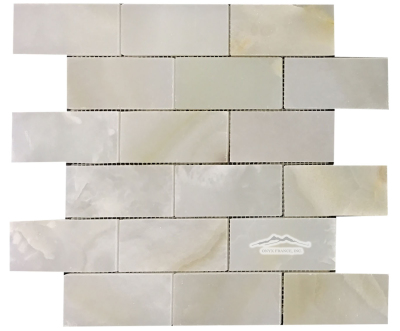 "2"" x 4"" Brick Mosaic: White Persian Vanilla Premium Polished"