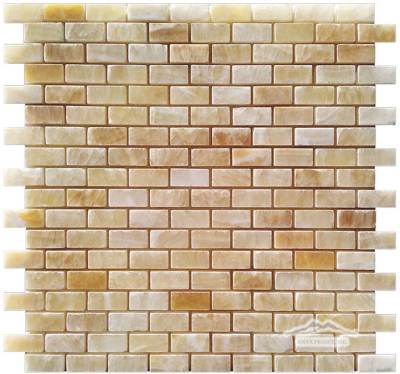 Golden Honey Onyx Mini Brick: 5/8'' x 1-1/4'' Mesh-Mounted Mosaic Polished