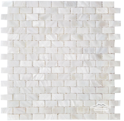 "Mini-Brick 5/8"" x 1-1/4"": Mother of Pearl (White Shell) Polished"