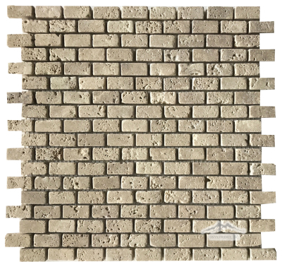 "Noce Travertine Mini Brick: 5/8"" x 1-1/4"" Mosaic Tumbled"