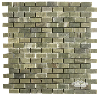 Verde Laguna Mini Brick: 5/8'' x 1-1/4'' Mosaic Polished