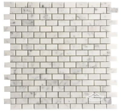 "Mini-Brick 5/8"" x 1-1/4"": White Carrara Venatino Marble Polished"