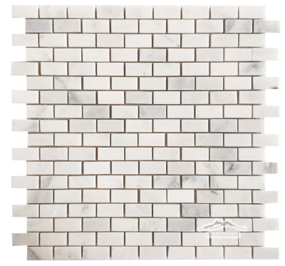 "Mini-Brick 5/8"" x 1-1/4"": White Statuary Calacatta Marble Polished"