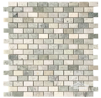 "Mini-Brick 5/8"" x 1-1/4"": Ming Green Marble Polished"