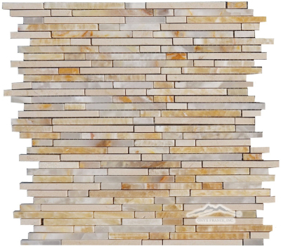 "Rainfall: 1/4"" x Mix-Length mosaic Golden Honey, White Onyx, Cream Marfil Polished"
