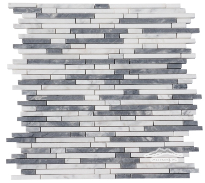 "Rainfall 1/4"" Mix Lenth: Thassos, Grey Mist, & White Carrara Venatino Mosaic Polished"