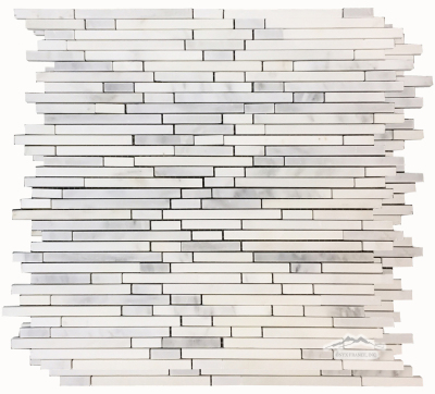 "White Statuary Calacatta Marble Rainfall 1/4"" by Mixed Length Mosaic Polished"