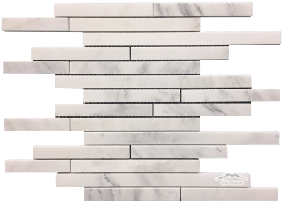 "White Statuary Calacatta Marble Cascading Waterfall: 3/4"" by Mix Length Mosaic Polished"