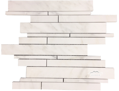 White Statuary Calacatta Marble Waterfall Multi-size Mosaic Polished