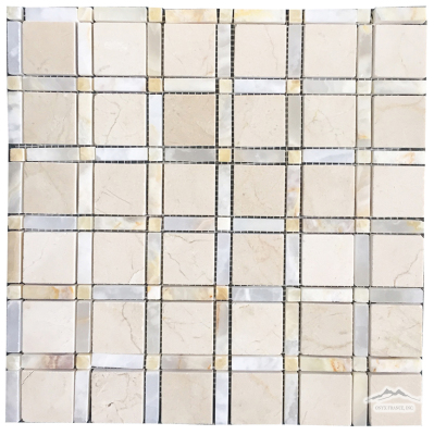 "Vetro 1-1/2"" x 1-1/2"" Cream Marfil,  1-1/2"" x 3/8"" White Onyx Bar w/ 3/8'' Honey  Onyx Dots Polished"