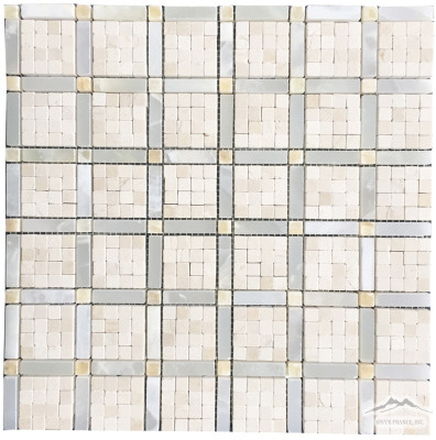 "Vetro 3/8'' x 3/8'' Cream Marfil Mosaics, White Persian Cloud Onyx  1-1/2"" x 3/8"" Bars with 3/8'' Golden Honey Onyx Dots Mosaics Polished"