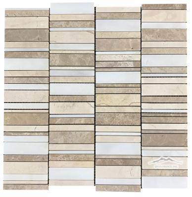 Stacked: Cream Marfil, Light Brown Emperador, & White Snow Marble Mosaic Polished