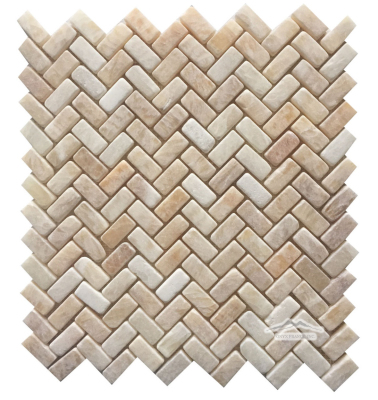 "Herringbone 1-1/4"" x 5/8"" Golden Honey Onyx Mosaic Tumbled"